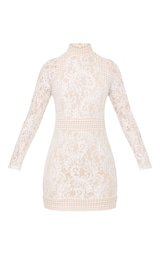 f894f86f74 Isobel White Lace High Neck Bodycon Dress image 3