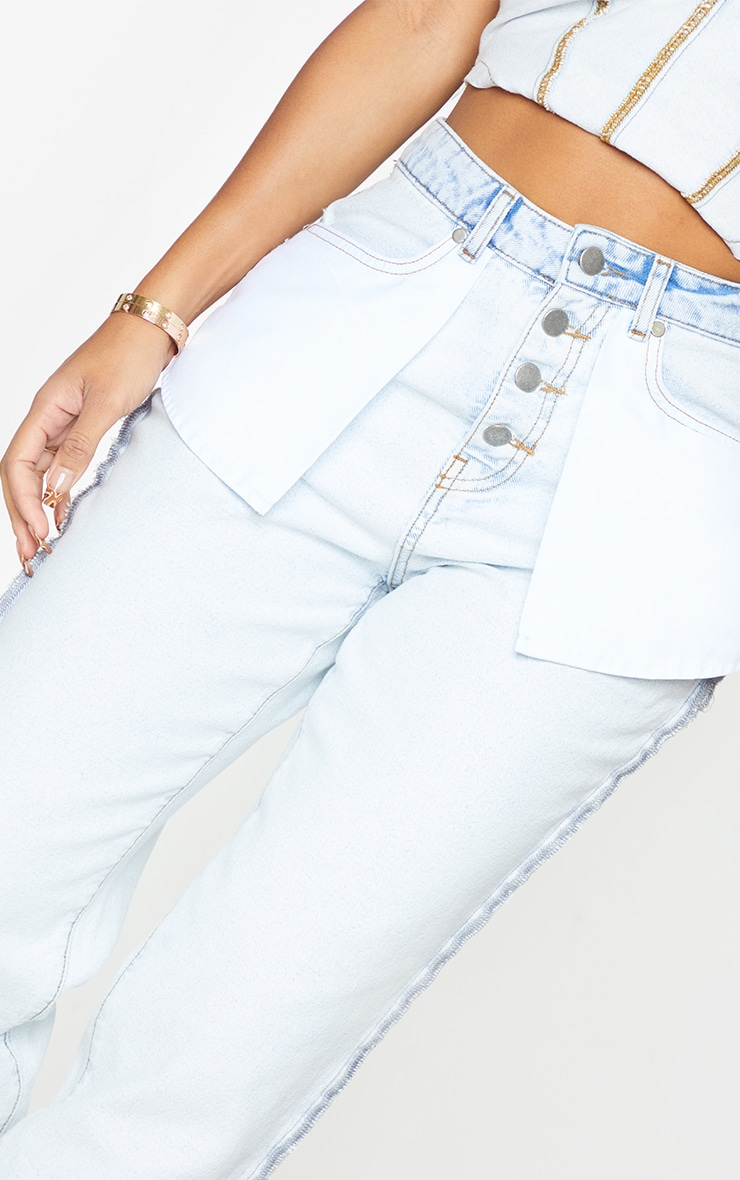Shape Bleach Wash Inside Out Ripped Bum Straight Leg Jeans 4