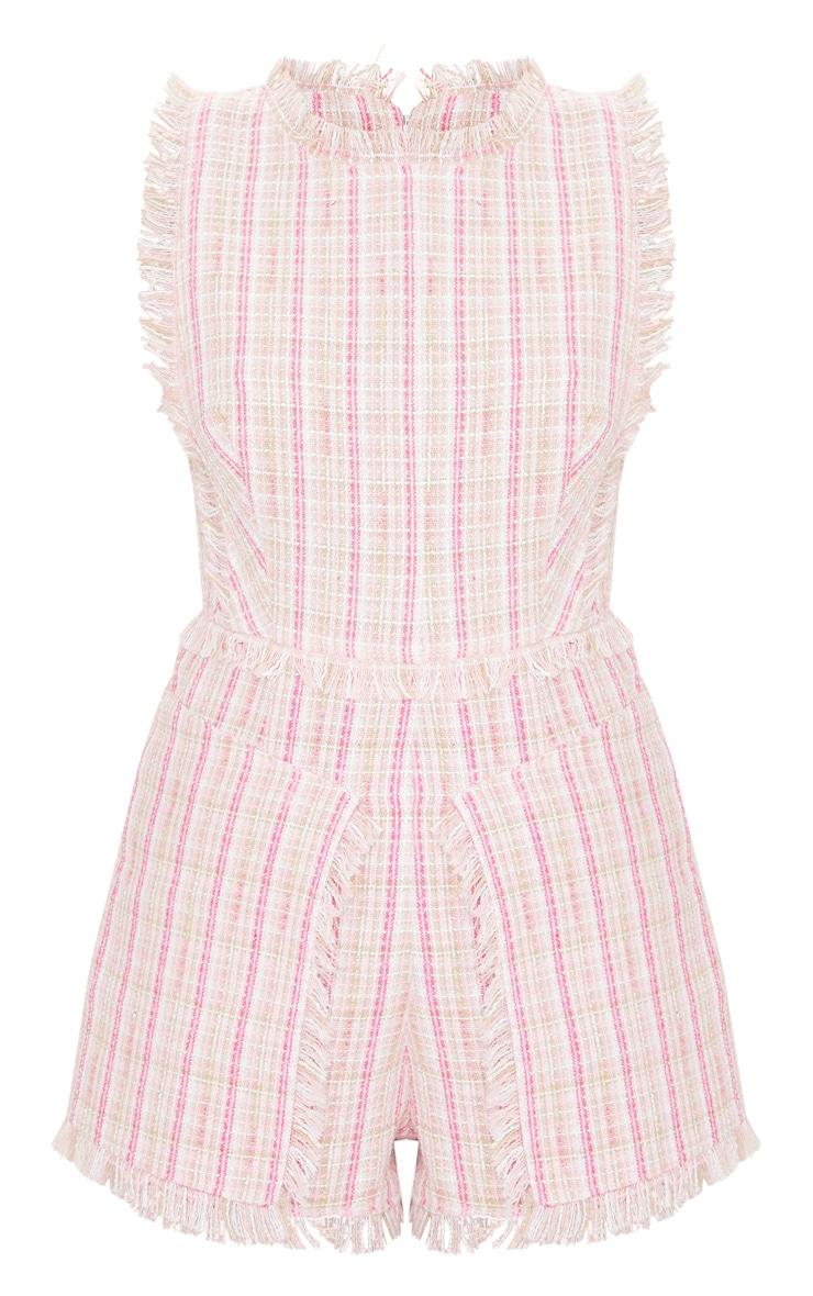 Pink Tweed Pocket Detail Romper 5