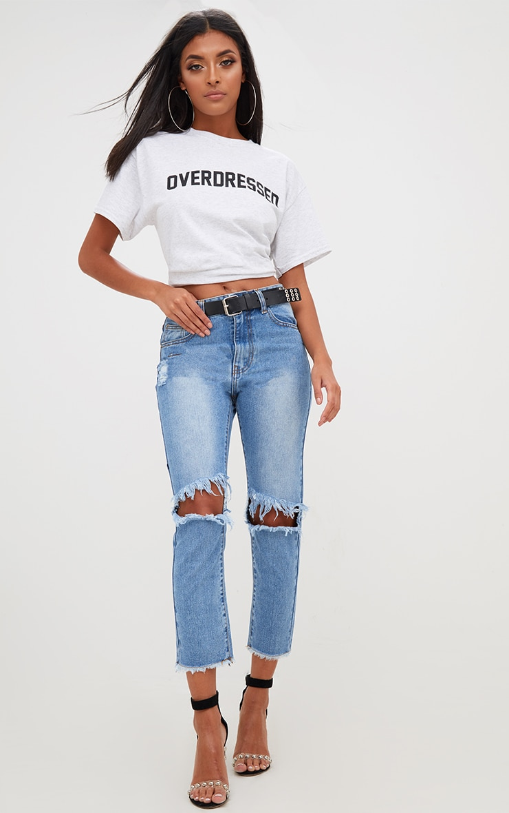 Mid Wash Extreme Knee Rip Straight Leg  Cropped Jean 1