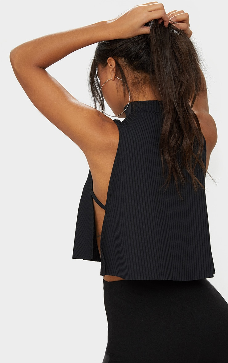 Black High Neck Rib Side Split Crop Top 2