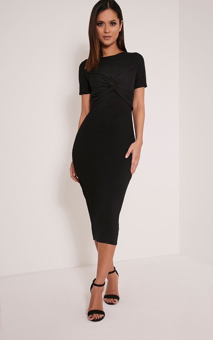 Larna Black Contrast Ribbed Knot front Dress 1