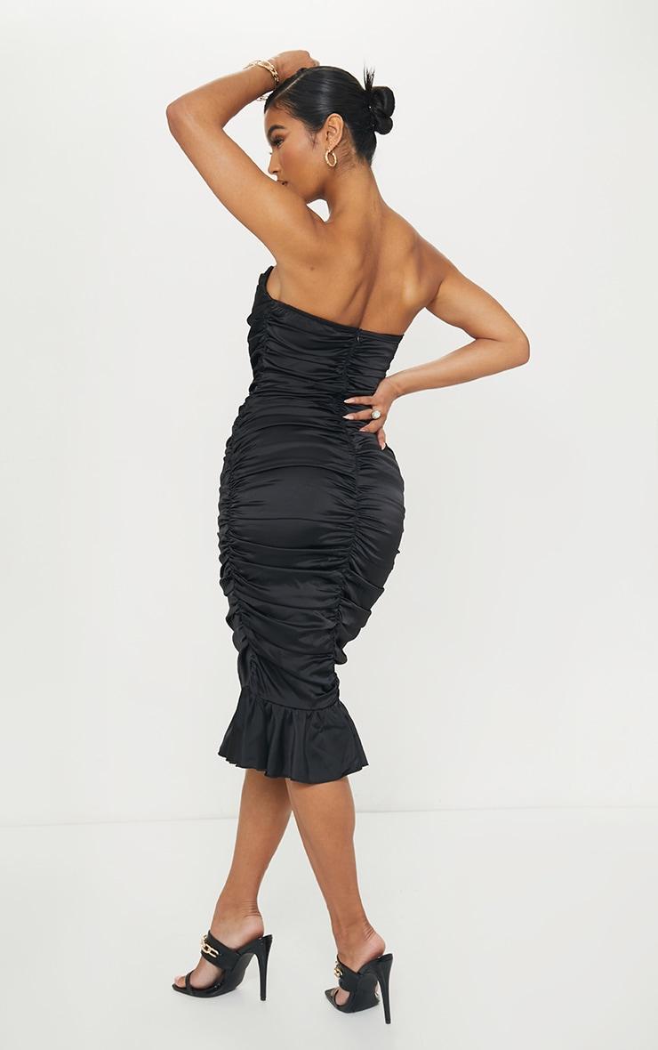 Black Satin Bandeau Ruched Frill Hem Midi Dress 2