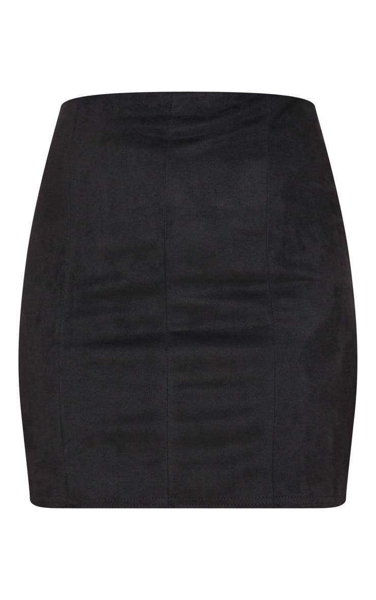 Black Faux Suede Seam Detail Mini Skirt 6