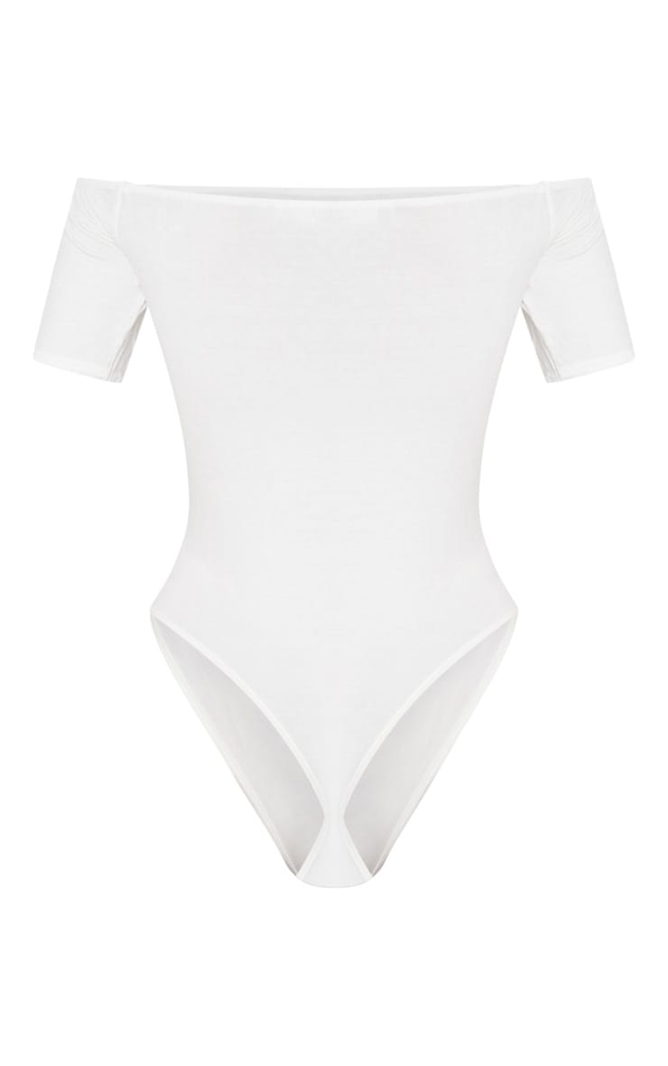 Cream Bardot Short Sleeve Thong Bodysuit 4