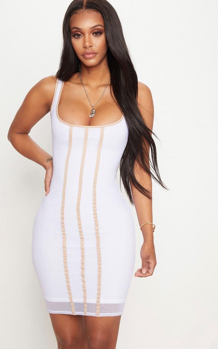 Shape White Contrast Binding Bodycon Dress 1