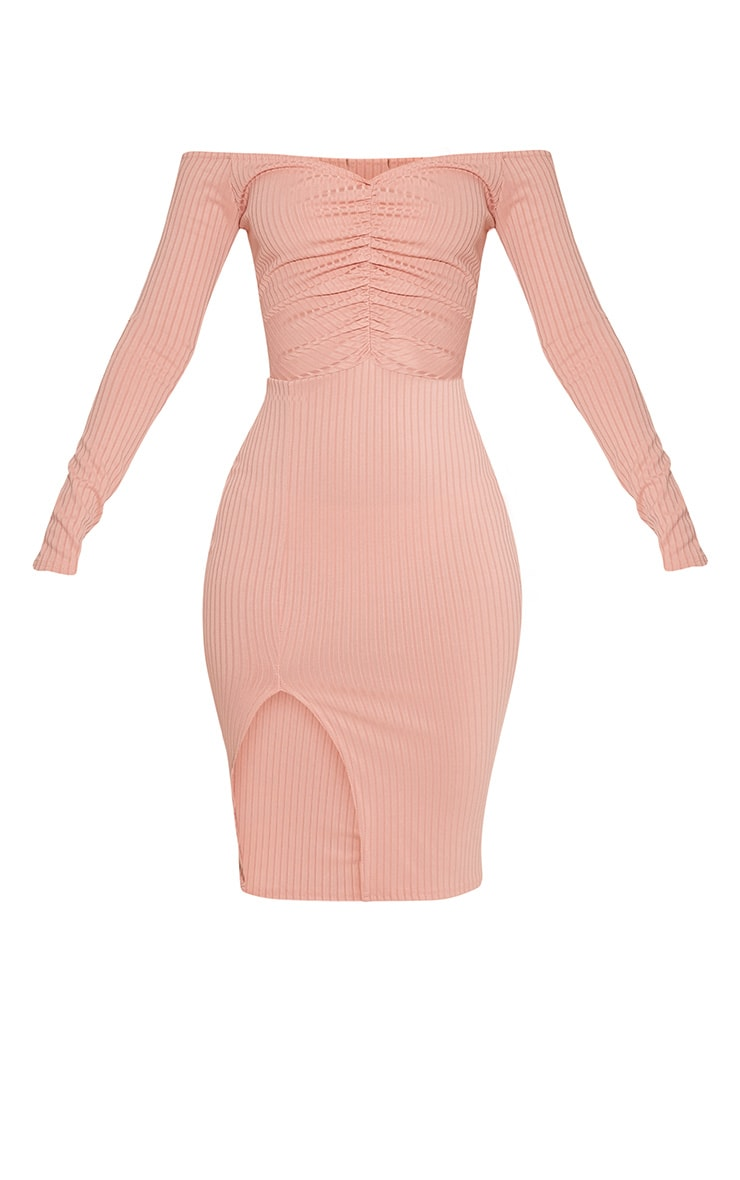Deelia Dusty Pink Ruched Front Ribbed Midi Dress 3