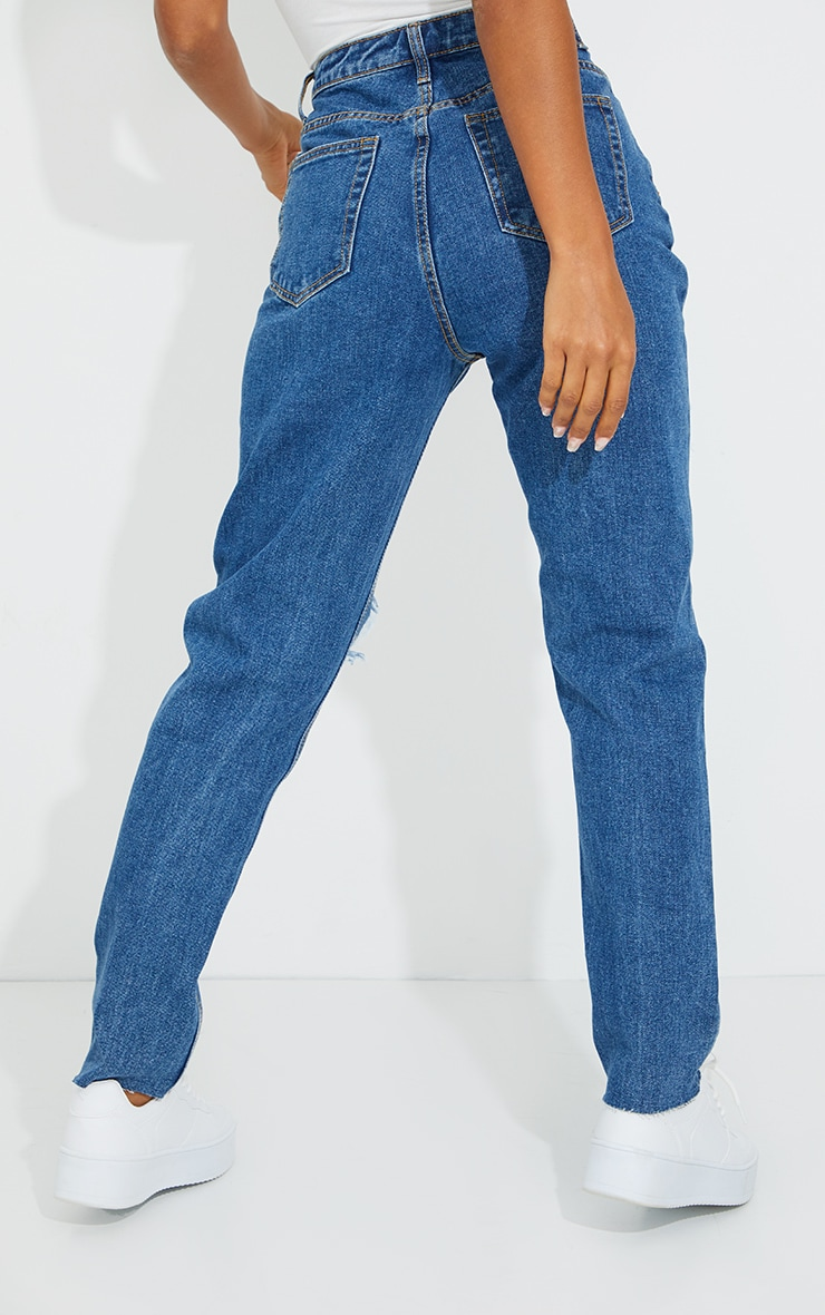 PRETTYLITTLETHING Mid Blue Wash Extreme Ripped Slim Fit Mom Jeans 3