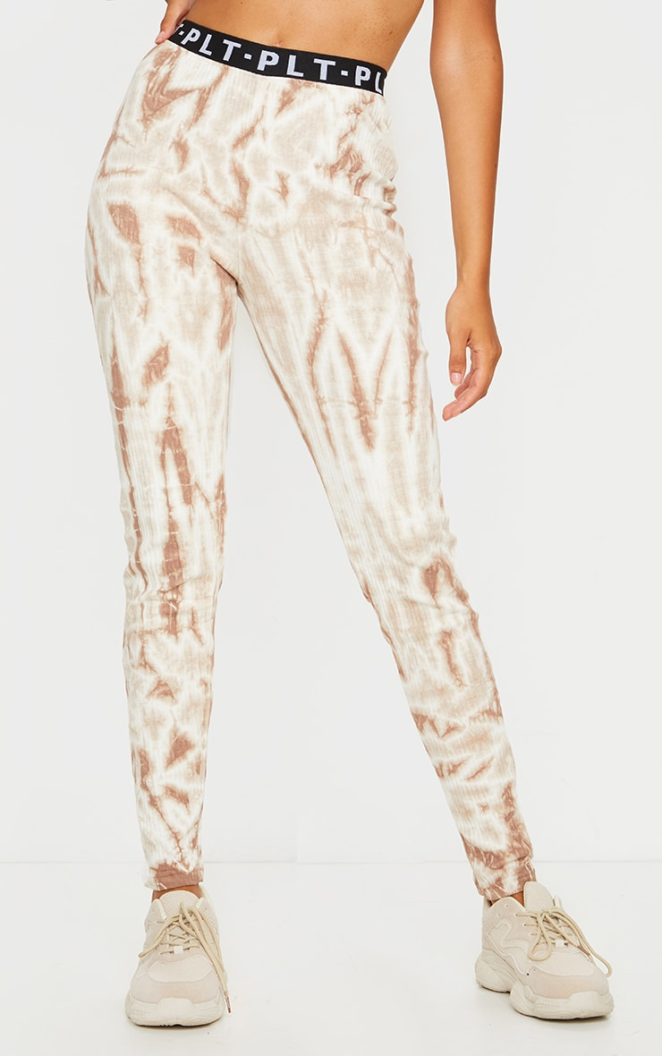 PRETTYLITTLETHING Stone Ribbed Tie Dye Joggers 2