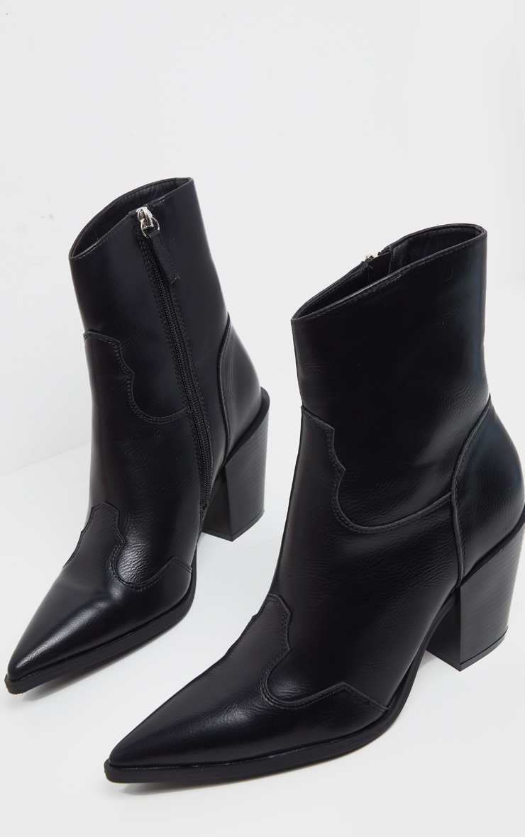 Black Point Toe Western Heel Ankle Boot 3