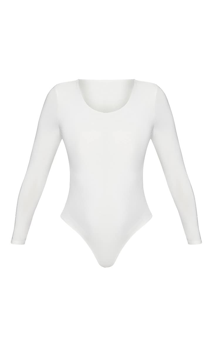 White Second Skin Long Sleeve Thong Bodysuit 3