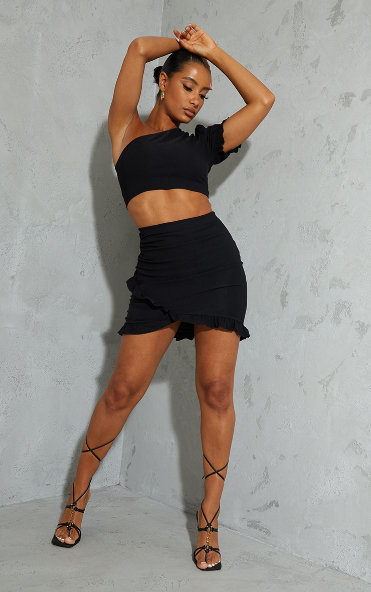 Black Woven Stretch Ruched Side Frill Hem Mini Skirt 1