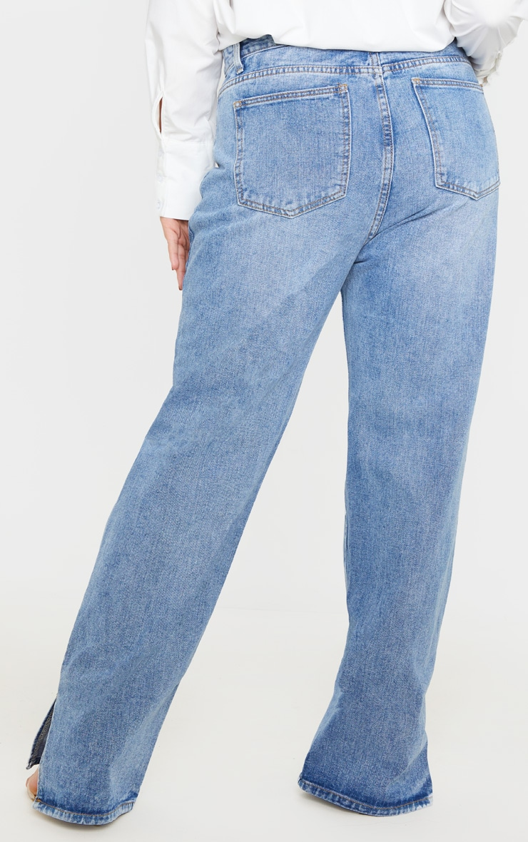 Plus Mid Wash Split Hem Jean  4
