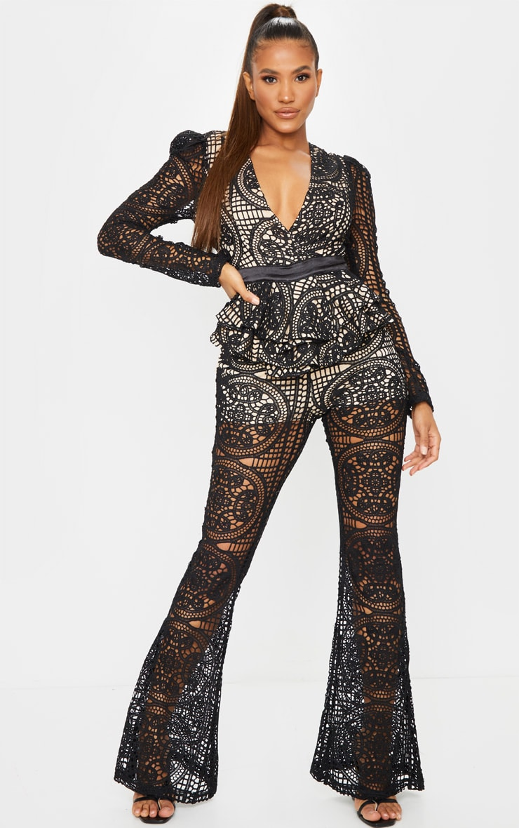 Black Lace Peplum Detail Long Sleeve Jumpsuit 1