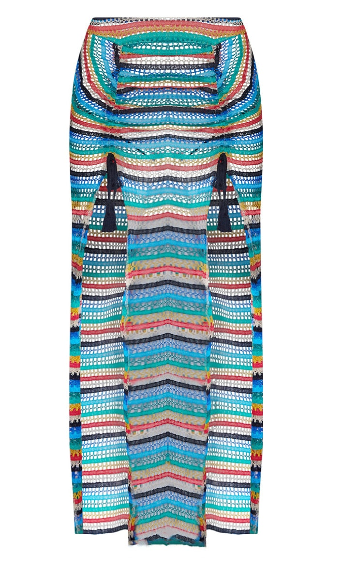 Multi Knit Double Split Beach Skirt 3