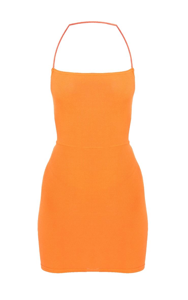 Orange Ribbed Lace Up Back Bodycon Dress 5