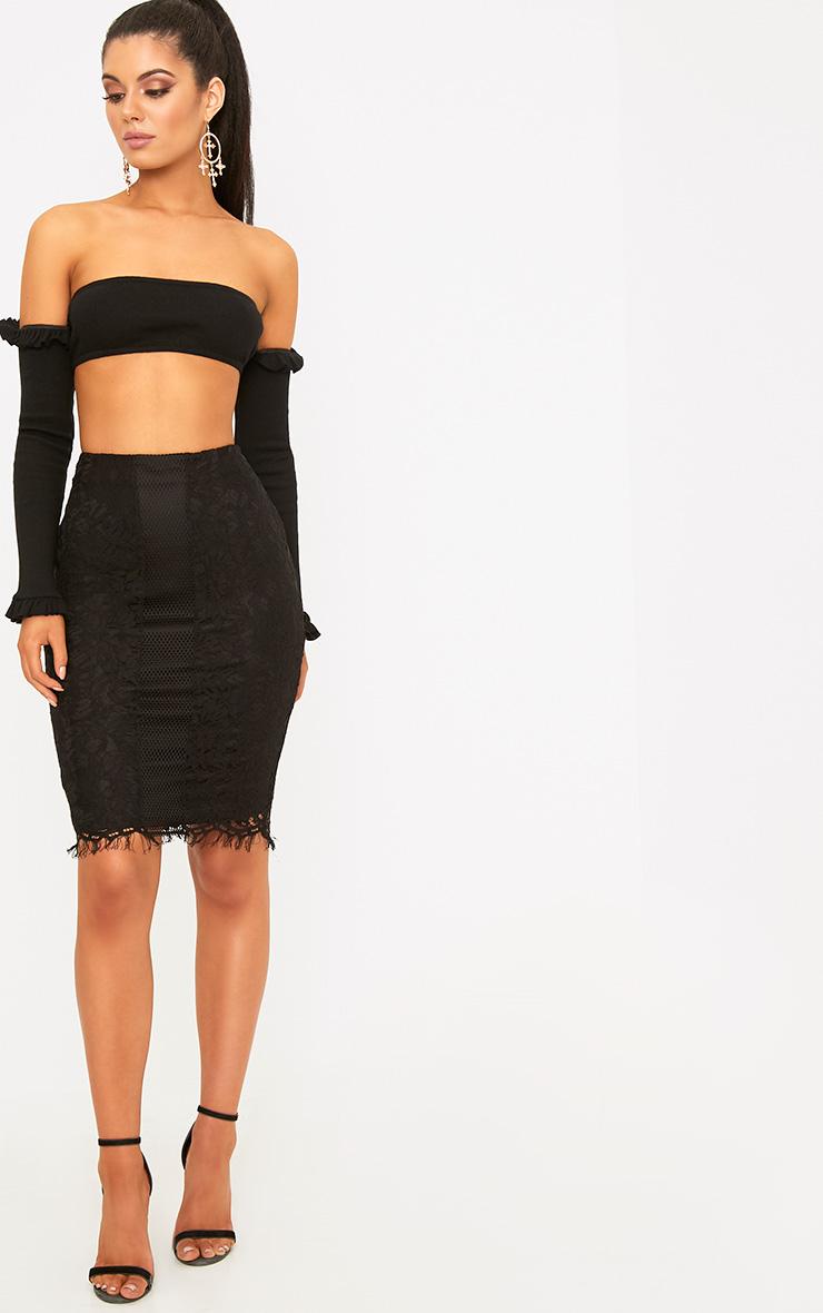 Daiana Black Fishnet Panel Lace Midi Skirt  5