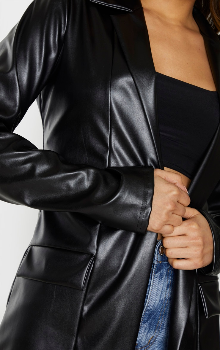 Tall Black Oversized Pocket PU Blazer 5