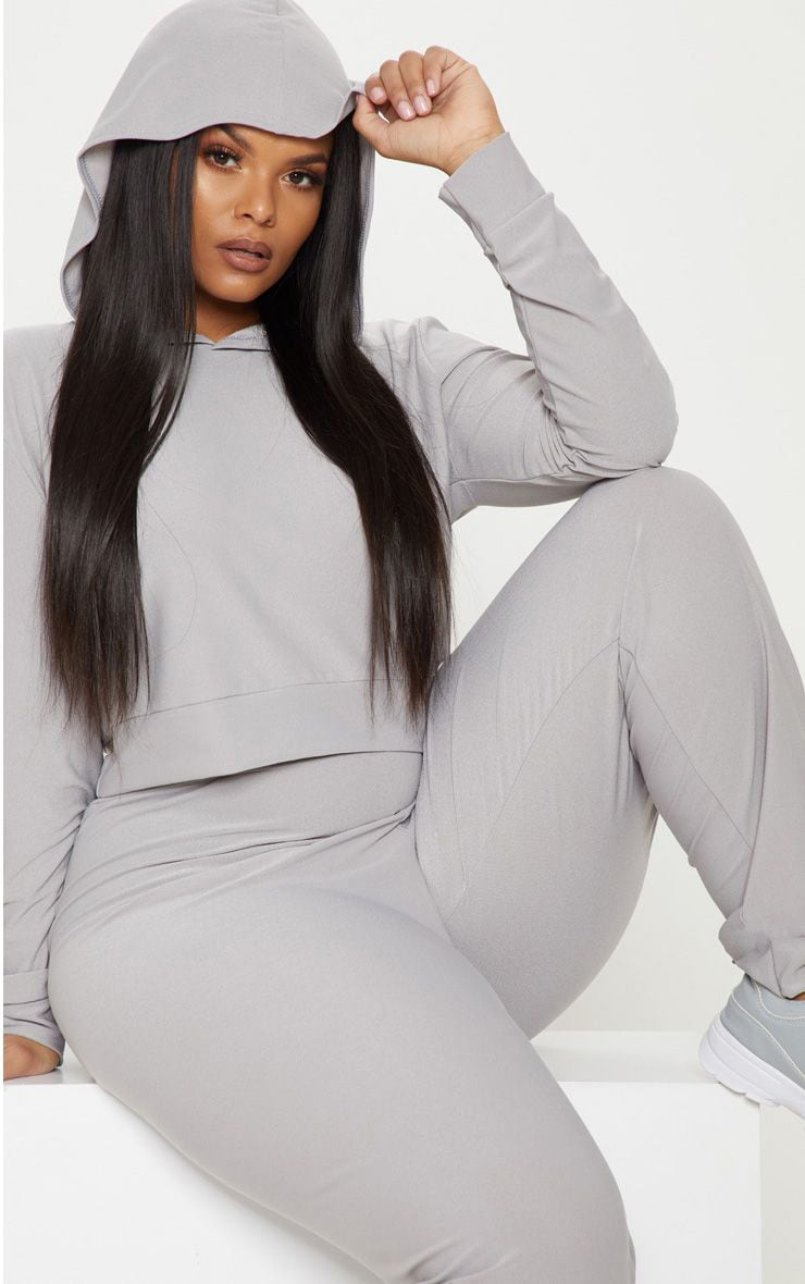 Plus Grey Marl Cropped Hoodie Top 1