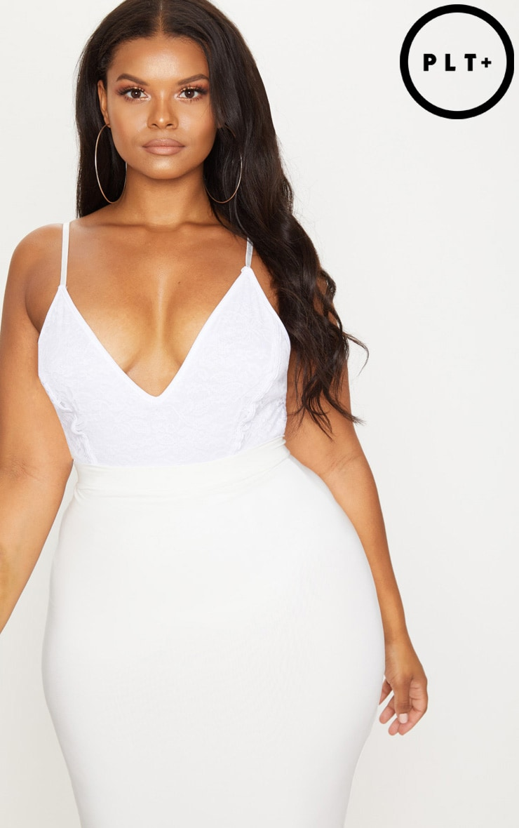 Plus White Strappy Plunge Bodysuit 1
