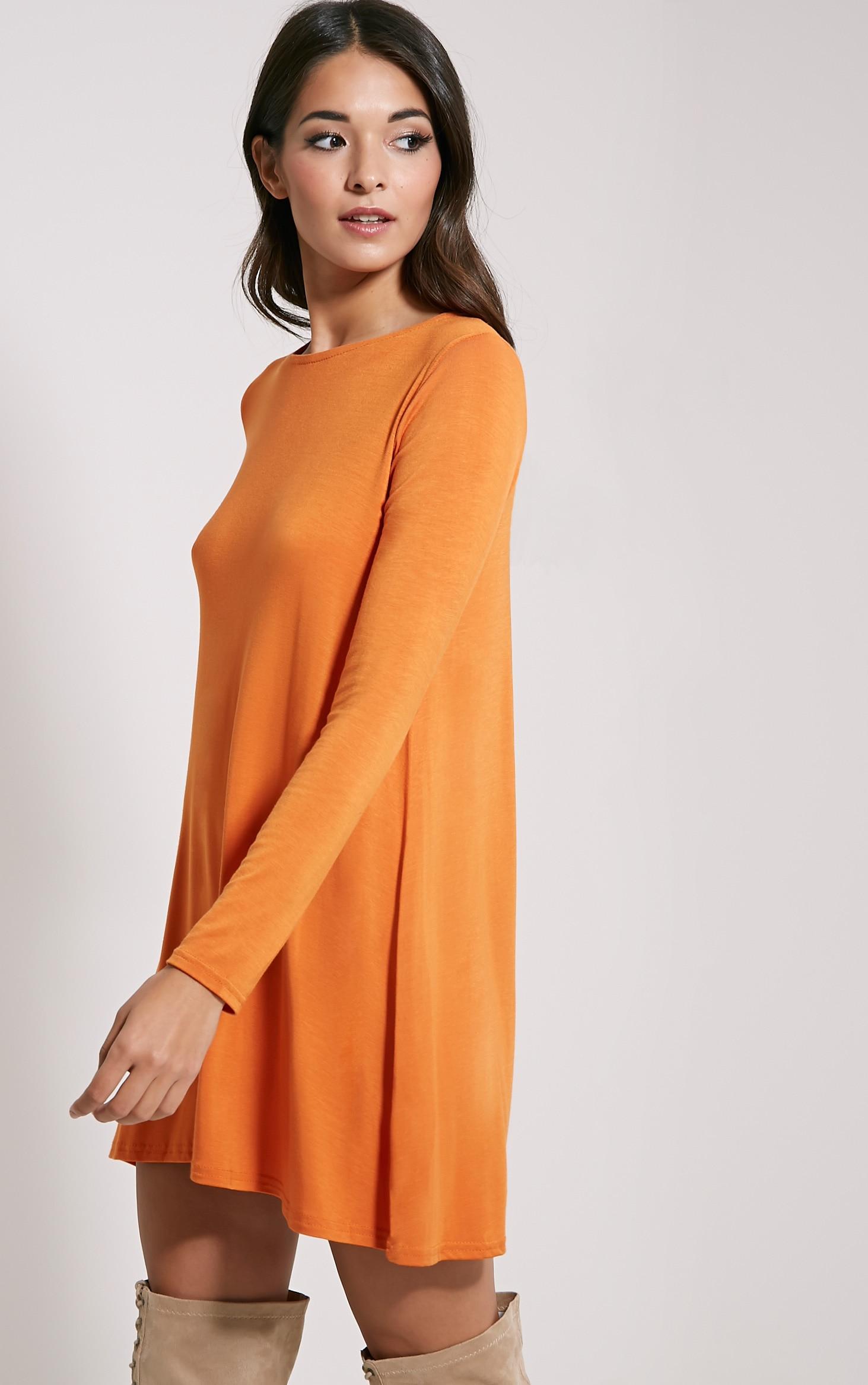 Basic Burnt Orange Long Sleeve Swing Dress 3