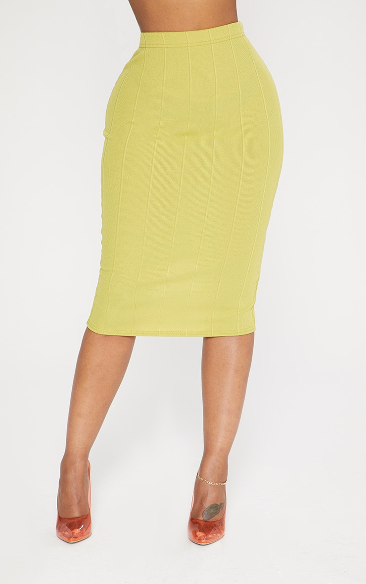 Shape Lime Ribbed Bandage Midi Skirt 2