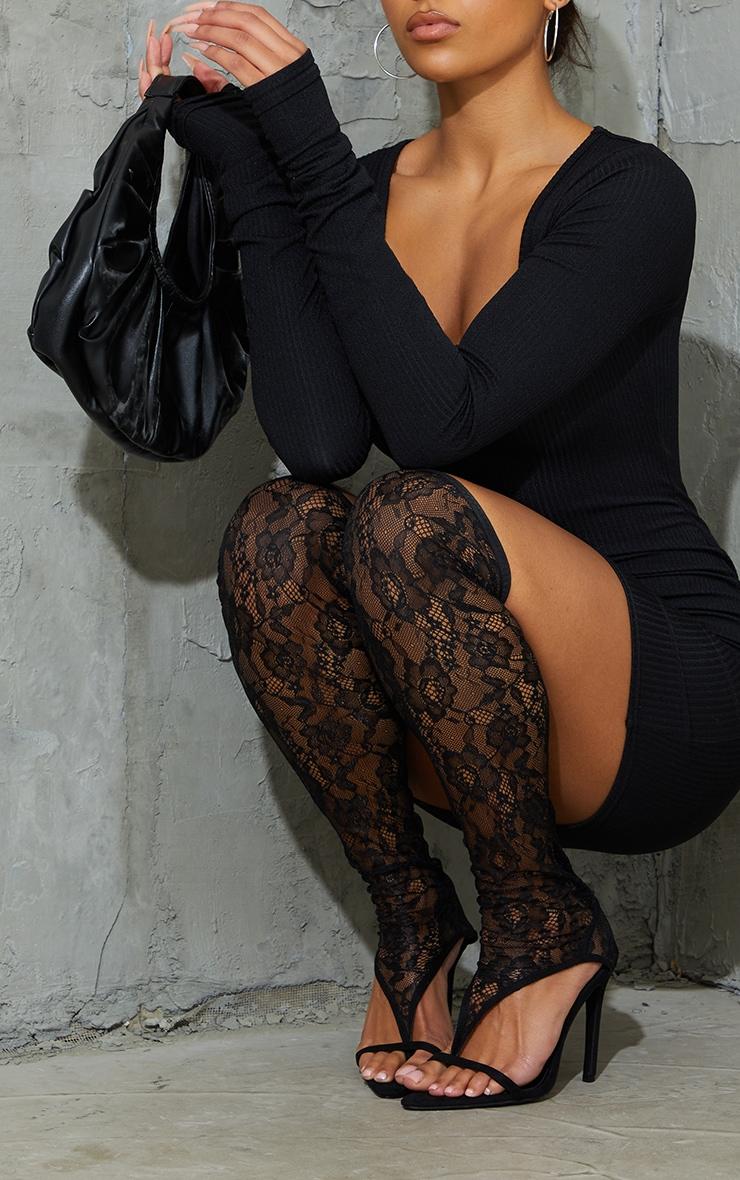 Black Lace Toe Thong Thigh High Heels 1