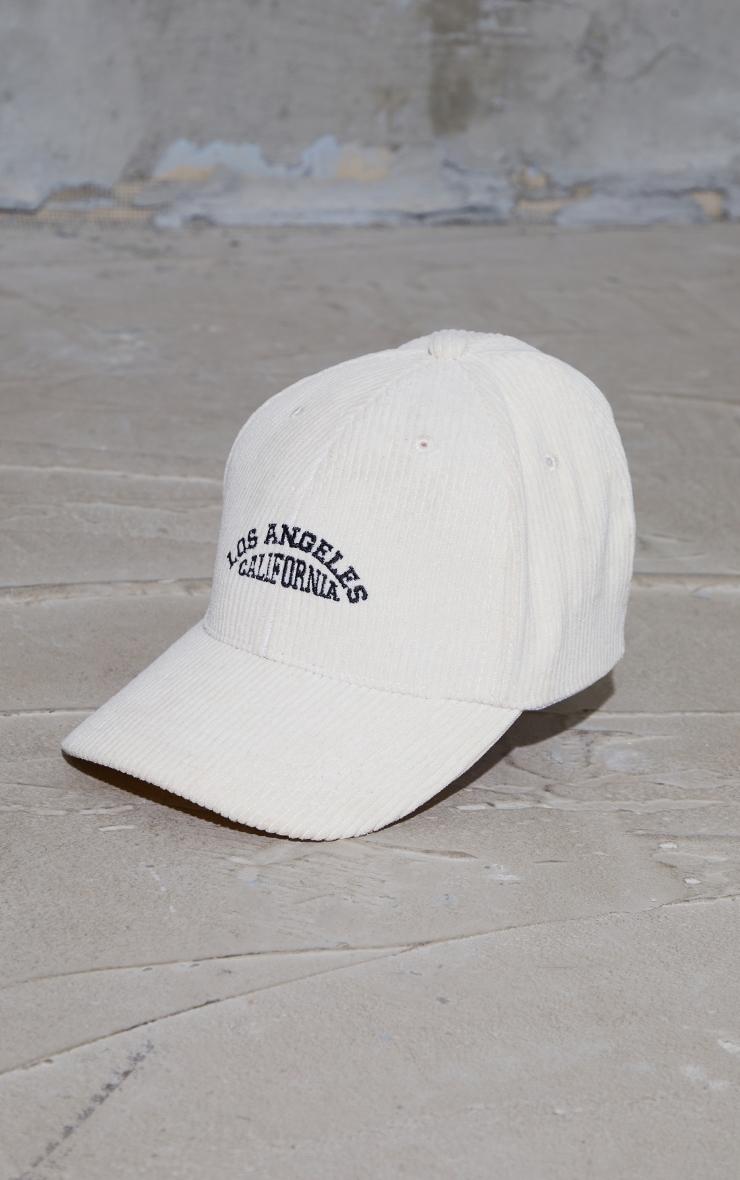 Cream Los Angeles Cord Baseball Cap 2