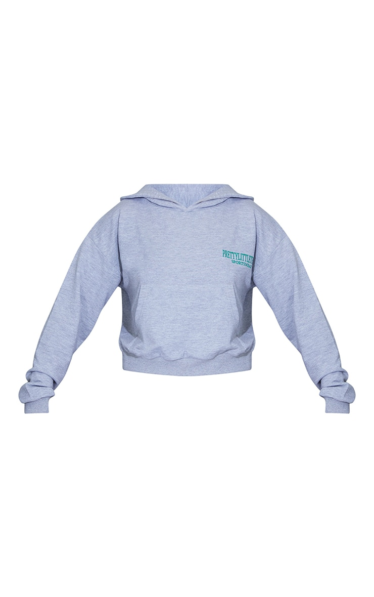 Grey Sports Embroidered Cropped Hoodie 5