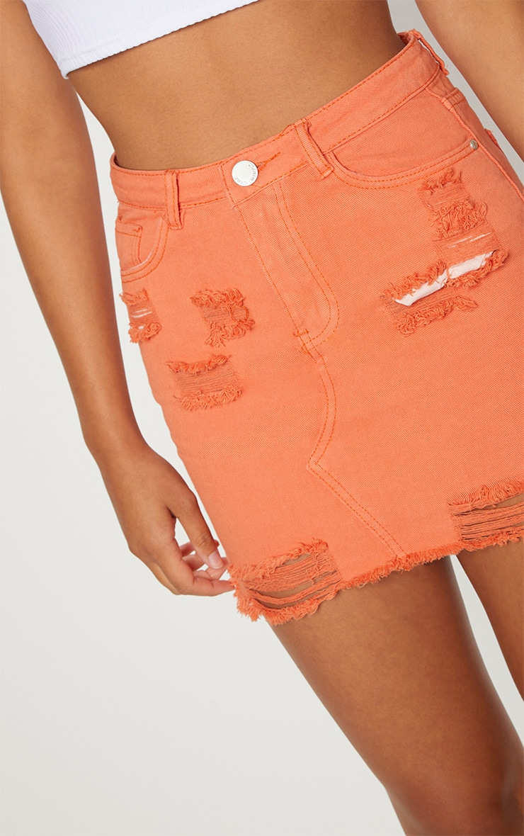 Orange Distressed Denim Mini Skirt 6