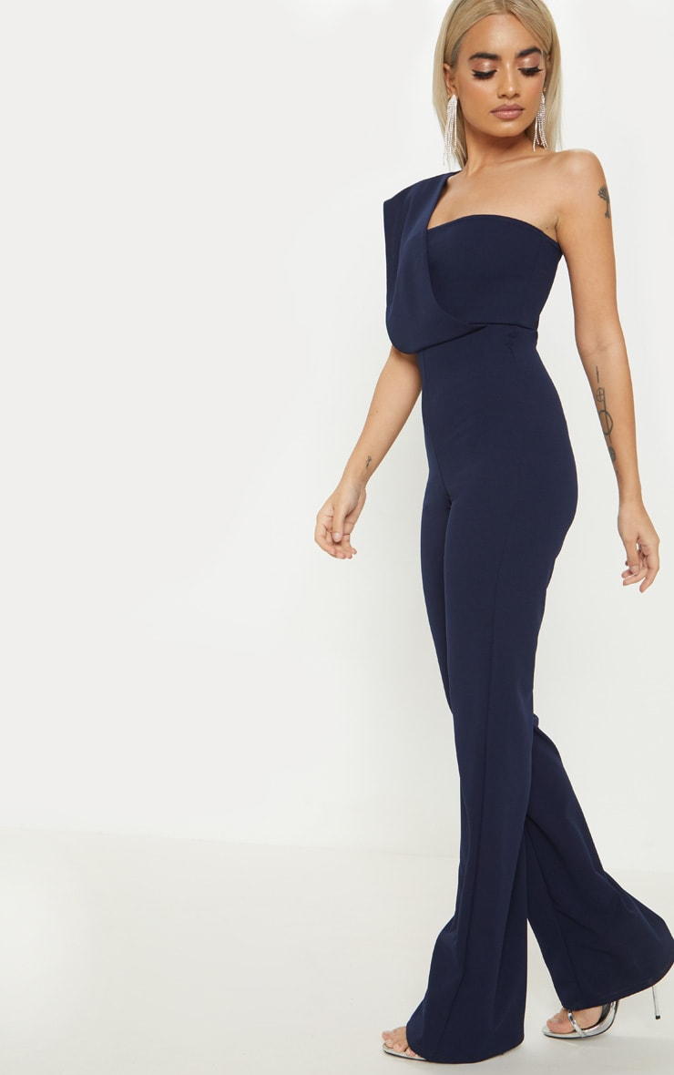 Petite Navy Drape One Shoulder Jumpsuit 4