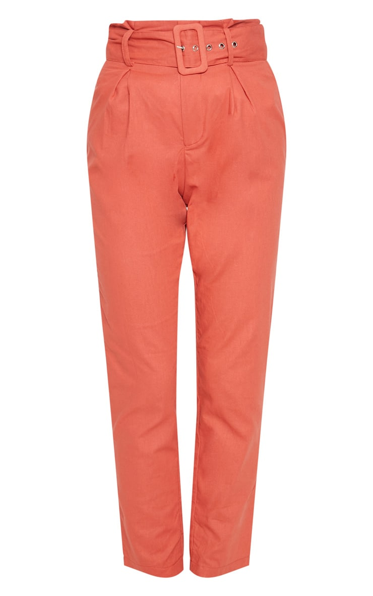 Rust Belted Paperbag Tapered Trouser 3