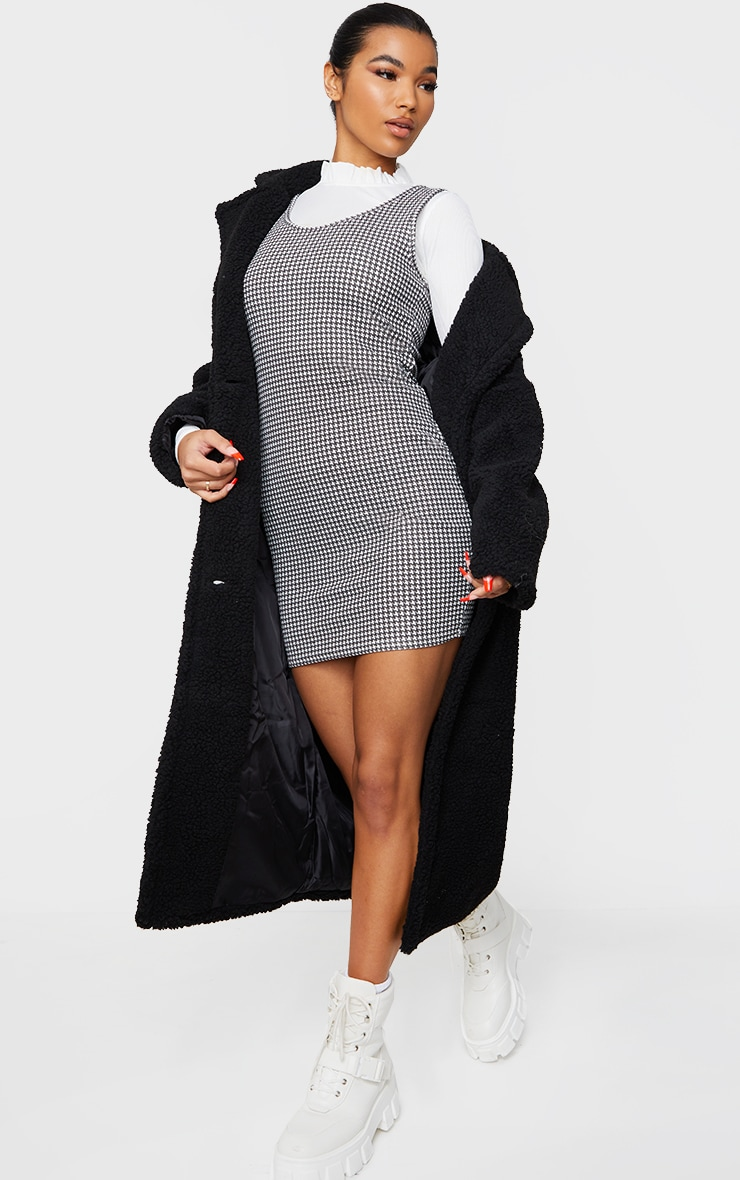 Black Dogtooth Print Frill High Neck Pinafore 2 in 1 Bodycon Dress 3