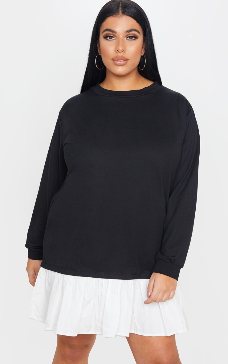 Plus Black Frill Hem Sweat Dress 4