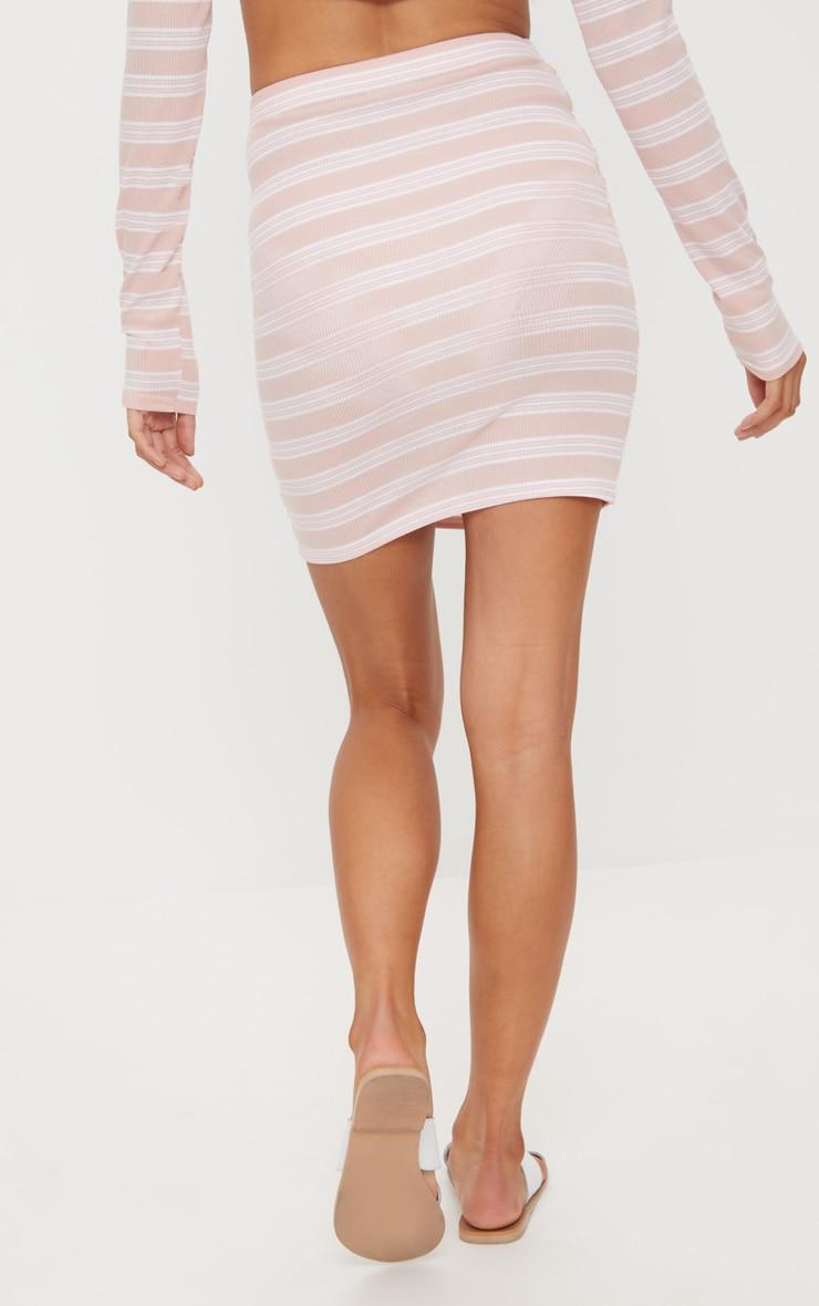 Pale Pink Ribbed Stripe Mini Skirt 4