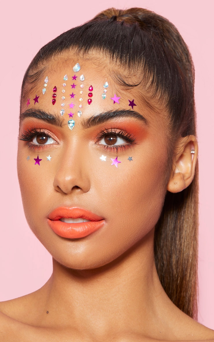 PRETTYLITTLETHING Pink Stars Face Jewels 3