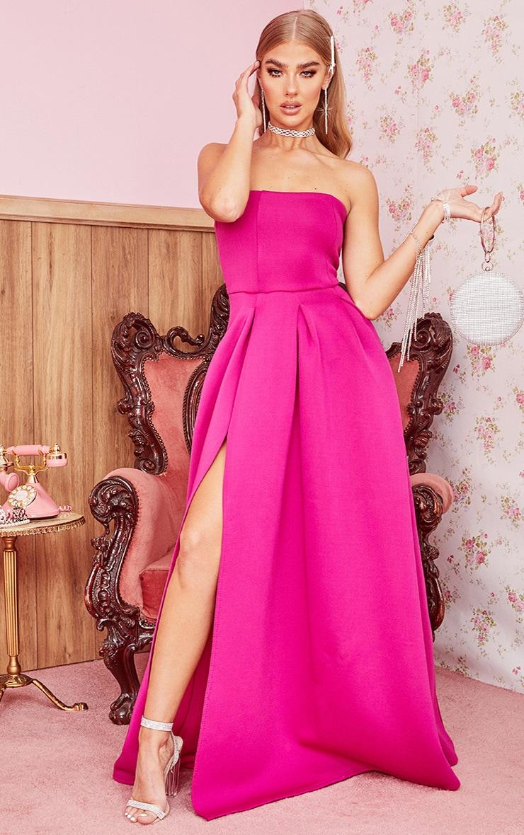 Hot Pink Scuba Bandeau Maxi Dress 1