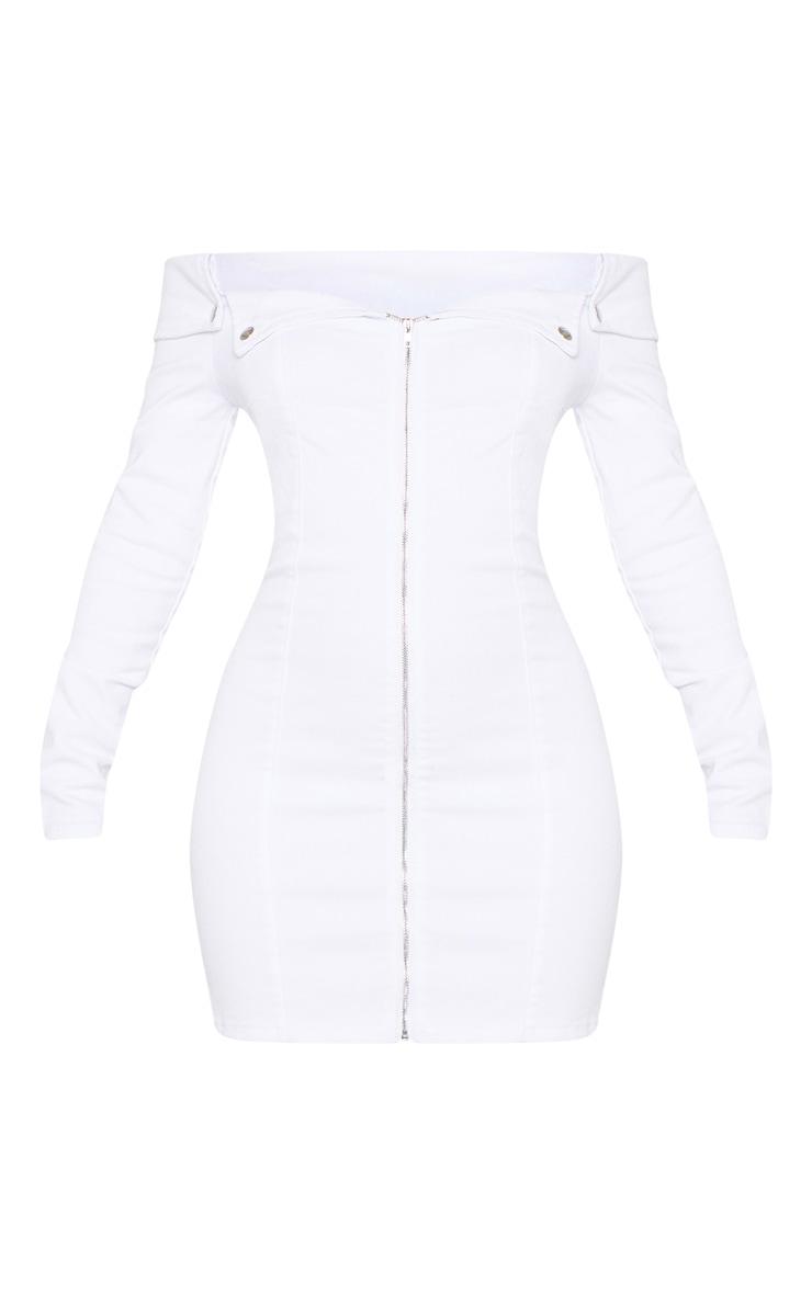 White Zip Front Off The Shoulder Denim Dress  3