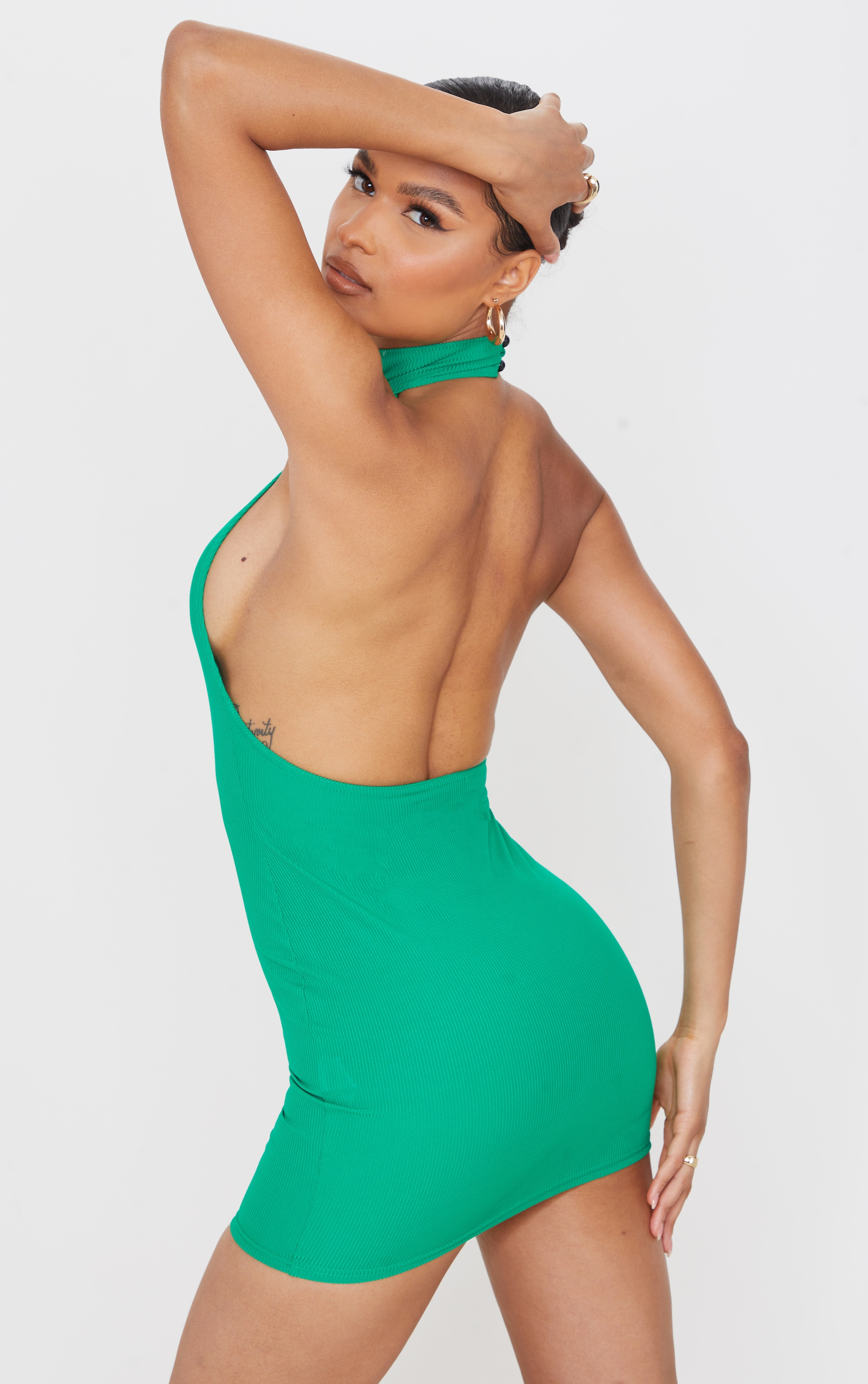 Green Ribbed High Neck Extreme Open Back Bodycon Dress 1