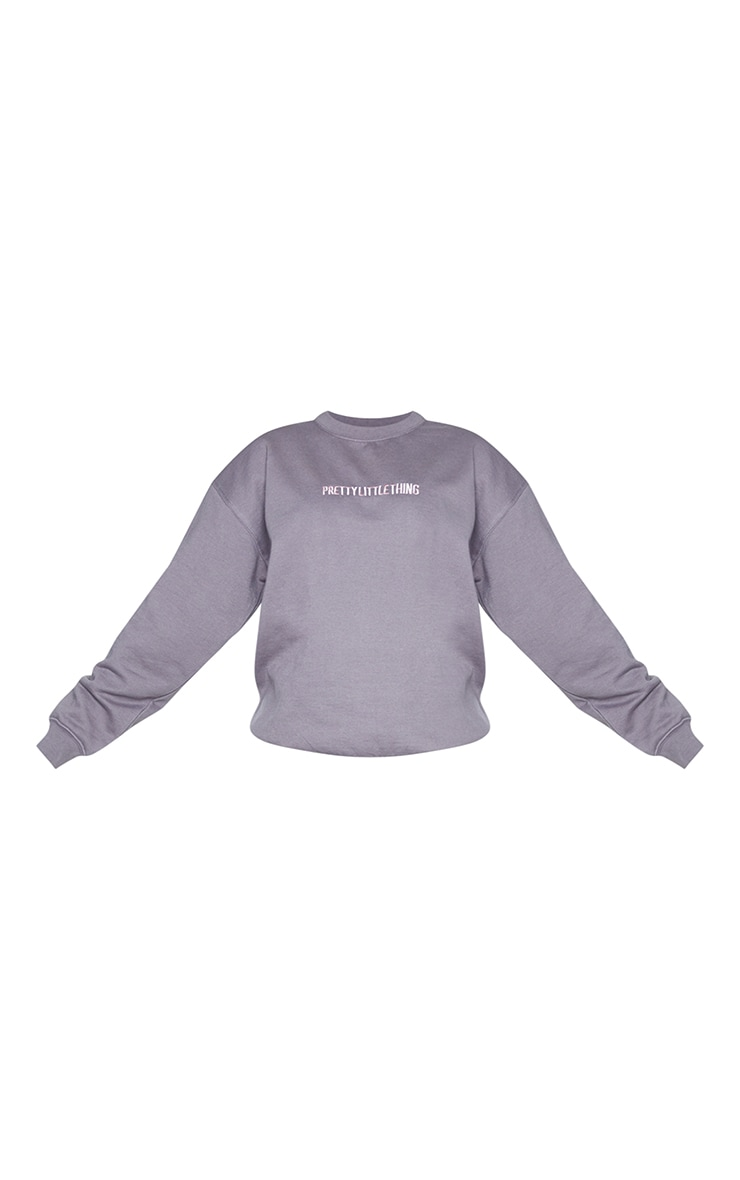 PRETTYLITTLETHING Charcoal Grey Embroidered Slogan Sweater 5