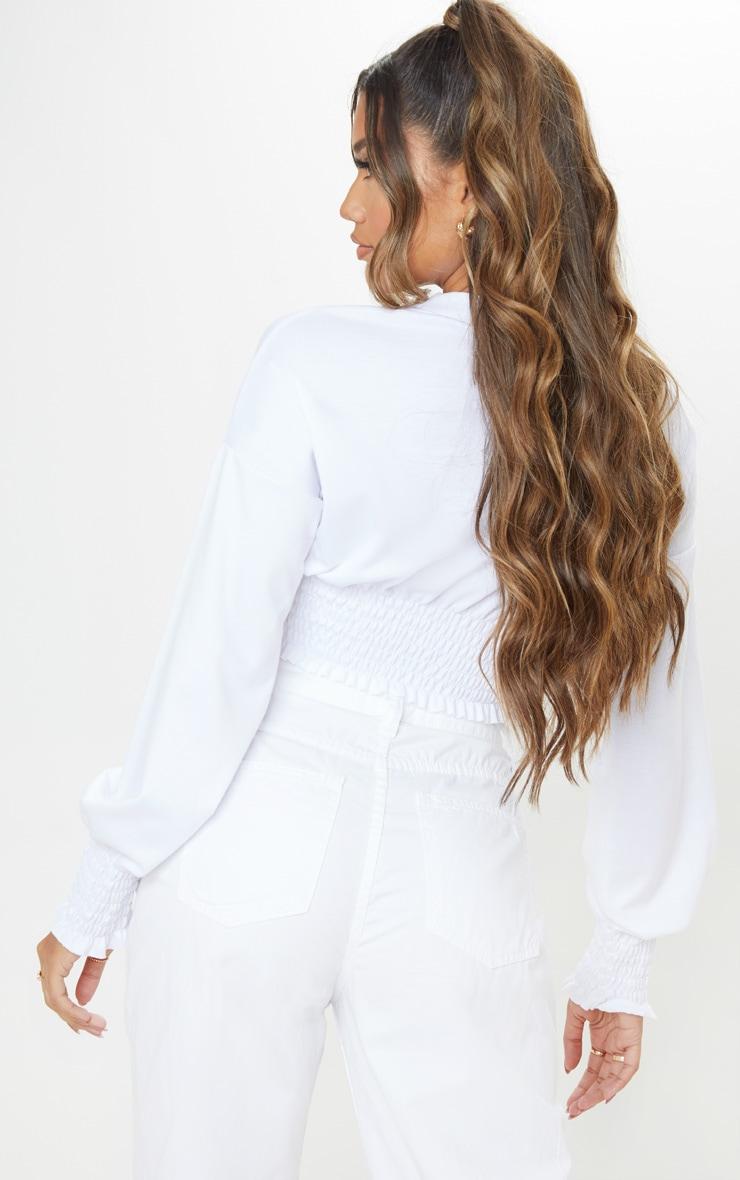 White Shirred Crop Sweater 2