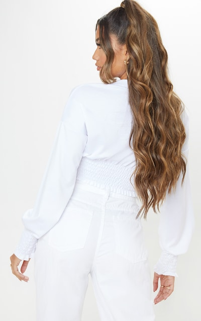 White Shirred Crop Sweater