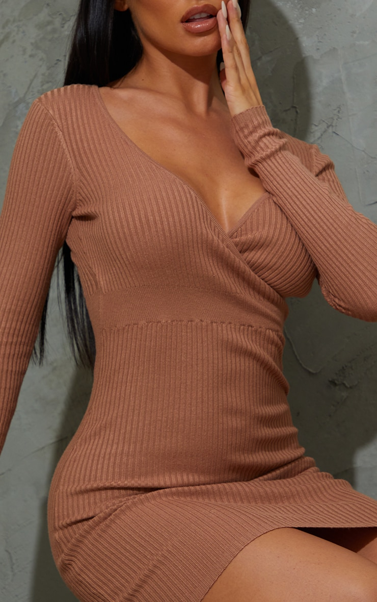 Camel Skinny Ribbed Knitted Wrap Front Bodycon Dress 4