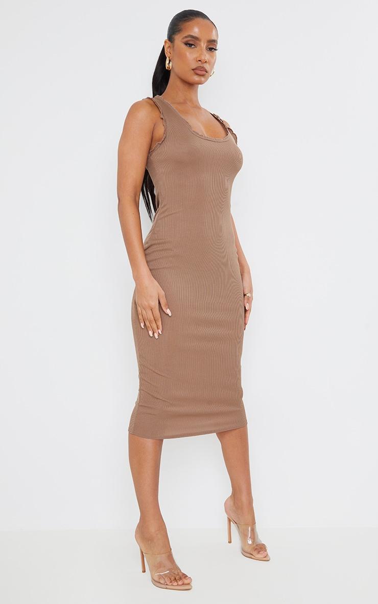Camel Rib Lettuce Raw Edge Detail Sleeveless Midi Dress 1