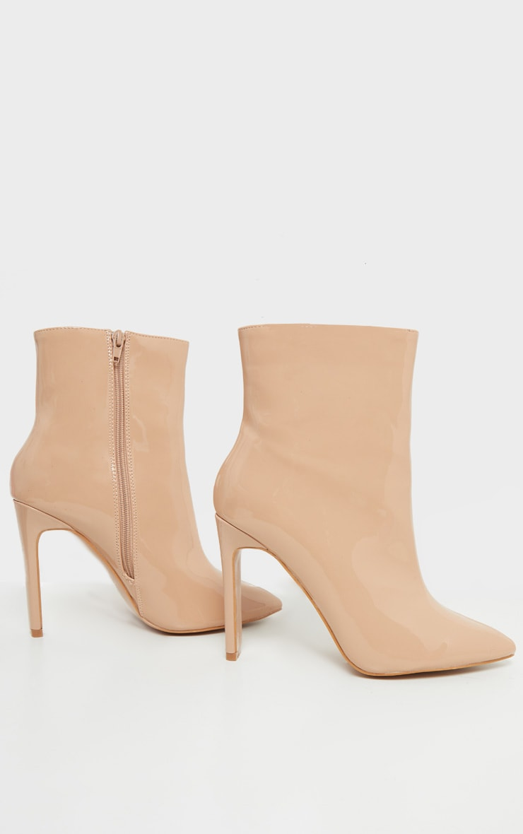 Nude Patent Wide Fit Flat Heel Point Ankle Boot 3