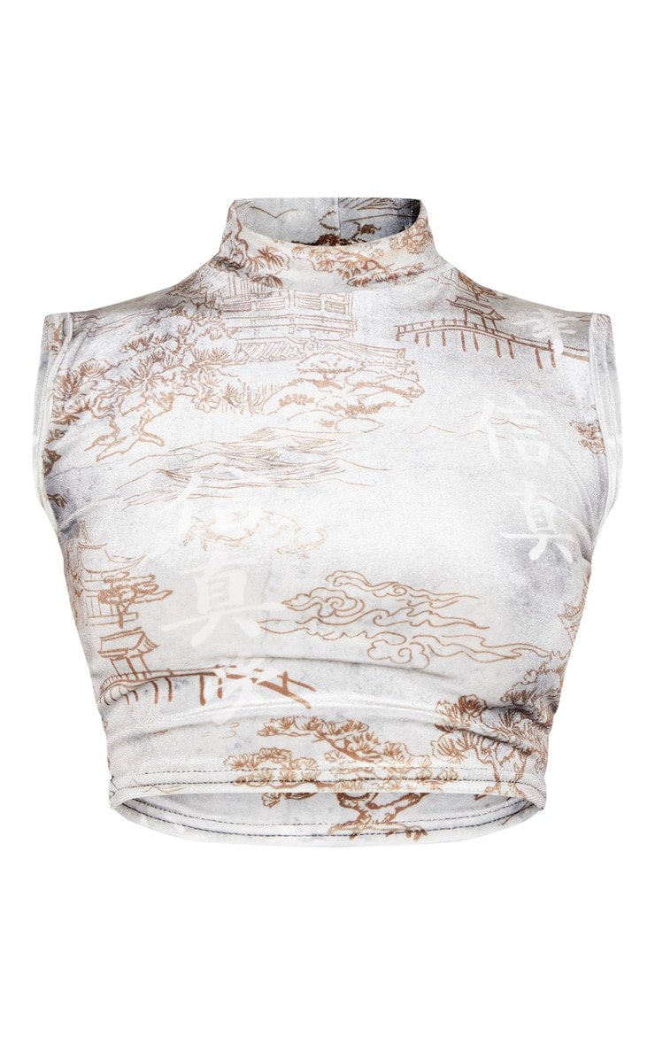 Mono Renaissance Printed Velvet High Neck Crop Top 3