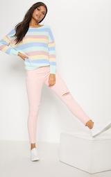 535fecf57 Pastel Rainbow Stripe Twist Back Jumper