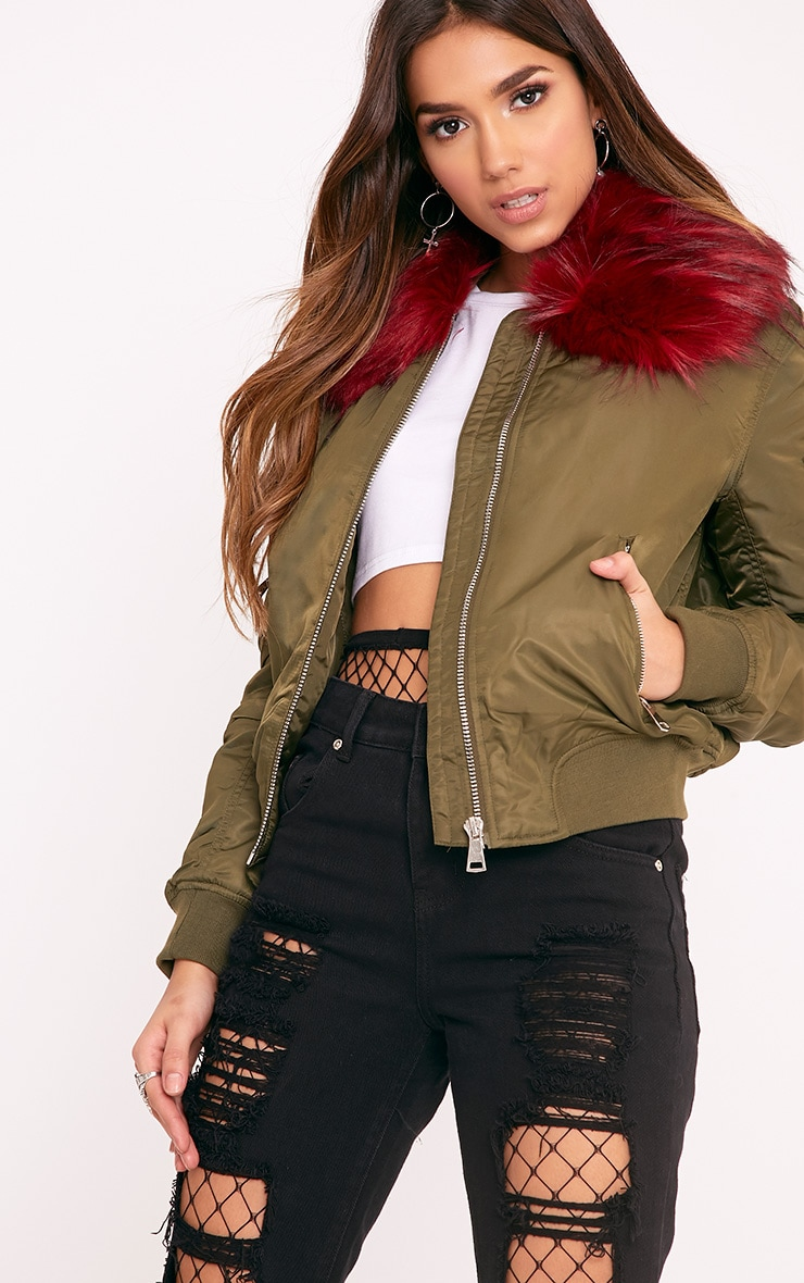 Mia Khaki  Faux Fur Collar Crop Parka 1