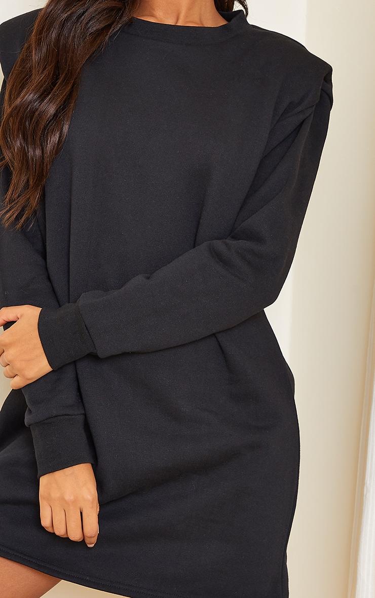 Black Shoulder Pad Detail Jumper Dress 4
