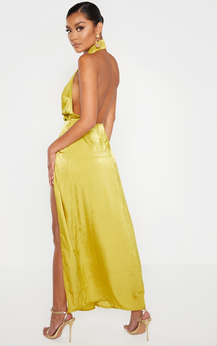 Light Lime Hammered Satin Halterneck Maxi Dress 2